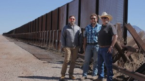 left to right: Mark B. Salter, Benjamin Muller & JC Mutchler along the US-Mexico Border Fence